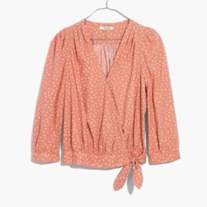Madewell Wrap Top in Star Scatter Coral